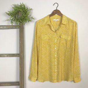LOFT | Mustard Yellow Floral Button Down Top